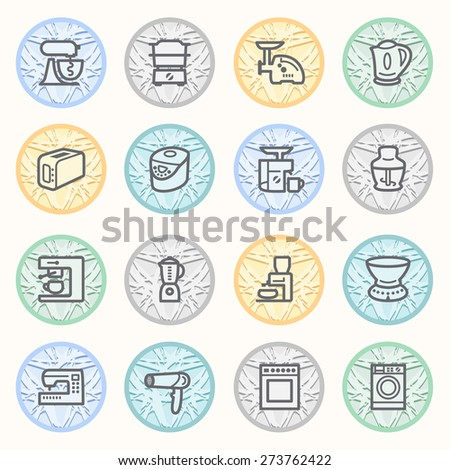 Home appliances flat contour icons on color buttons.