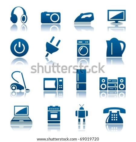 Home appliances icon set - stock vector