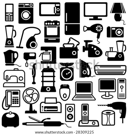 Home appliances icons - stock vector