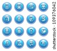Home appliances icons on blue buttons, set 2. - stock vector