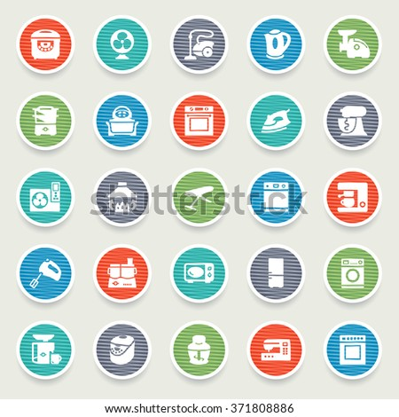 Home appliances icons on color stickers.