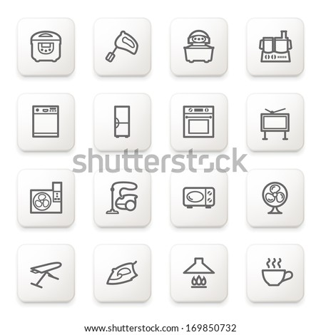 Home appliances icons on white buttons. - stock vector
