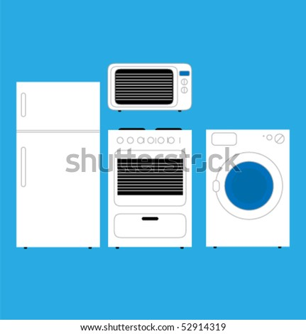 Home appliances in minimalist style. Vector. - stock vector