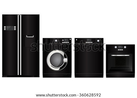 Home appliances. Set of black household kitchen technics: electric Oven, Dishwasher, refrigerator, washing machine. Vector Illustration isolated on white background. - stock vector