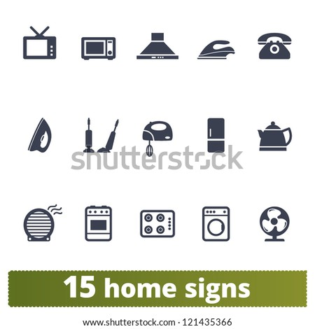 Home appliances signs: vector set of household  icons - stock vector