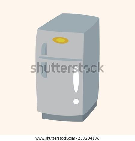 Home appliances theme refrigerator elements - stock vector