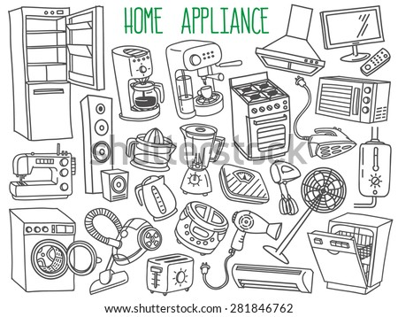 Home appliances themed doodle set. Various household equipment and facilities - major and small  appliances, consumer electronics, kitchenware. Freehand vector sketches isolated over white background. - stock vector