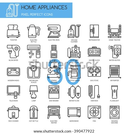 Home Appliances , thin line icons set ,pixel perfect icons - stock vector