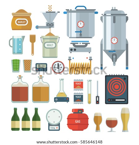 Home brewing process items all you stock vector 585646148 for Home brew craft beer