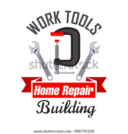 home building and repair work tools icon emblem vector icon of spanner adjustable wrench - Home Building Tools