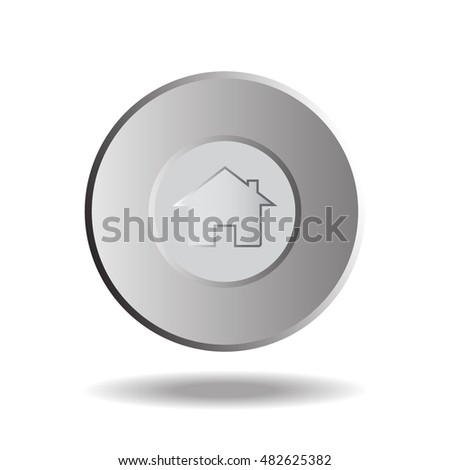 Home Button, Icon Metal, Round. Vector Illustration