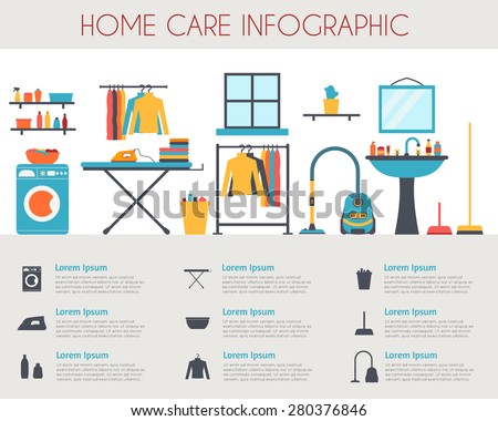 Home care and housekeeping infographic. Room with different housework icons. Flat style vector illustration.  - stock vector