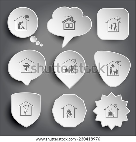 home cat, dog, pharmacy, watching TV, family, flower shop, tv. White vector buttons on gray. - stock vector