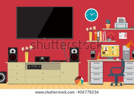 Home cinema system and workplace in interior room. Home theater flat vector illustration. TV, loudspeakers, computer, player, receiver, subwoofer for home movie theater and music in the apartment - stock vector