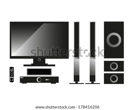 Home cinema system set - stock vector