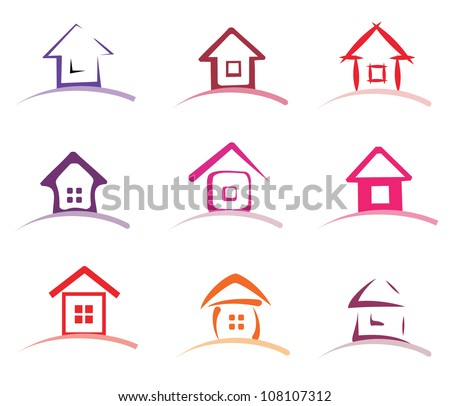 home collection stylized of vector icons - stock vector