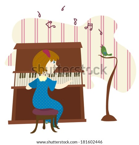 Home concert - singing bird and playing girl