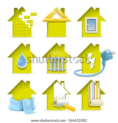 Home Construction Icons. All stages of the construction of a modern house in the laconic and capacious icons. - stock vector