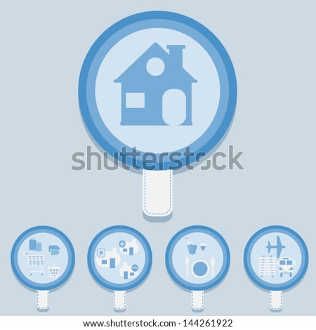 Home convenience Label ,Vector cartoon business