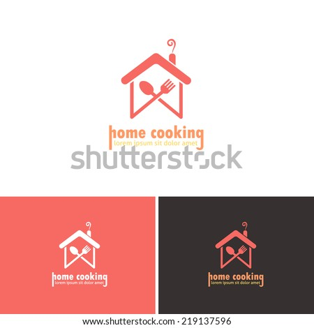 Home Cooking, abstract Home hand-arm Vector Icons, Logos, Sign, Symbol Template  - stock vector