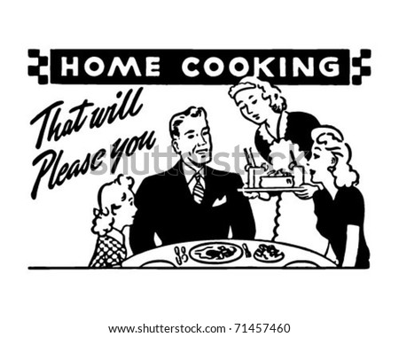 Home Cooking 2 - Retro Ad Art Banner - stock vector