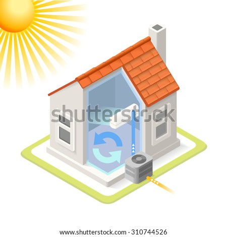 Home Cooling System Air Conditioning Unit House Heating Heat Pump Infographic. Isometric Building 3d Diagram Air Conditioner unit fan. Home Cooling Refresh Diagram. Image Object Diagram Vector Image.