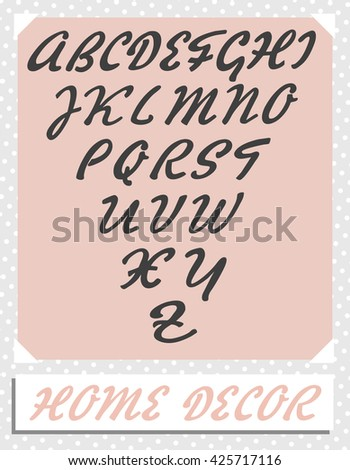 Home Decor - Complete Alphabet - stock vector