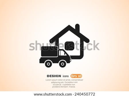 home delivery, web icon. vector design - stock vector
