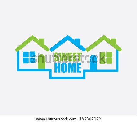 Home design over gray background, vector illustration