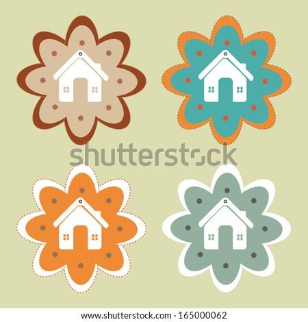 home design over green background vector illustration   - stock vector