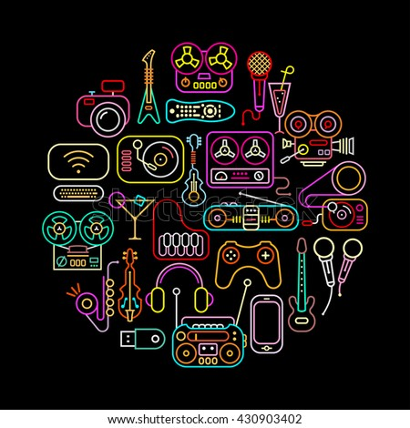 Home electronic icons round shape vector illustration. Neon colors silhouettes on a black background. - stock vector