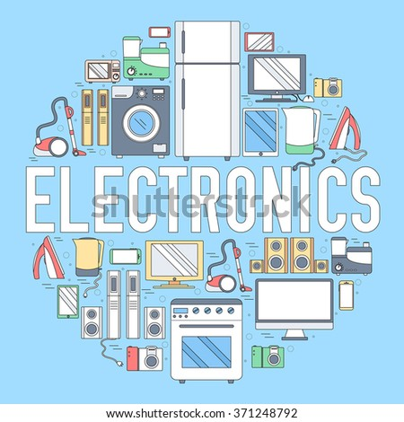 Home Electronics Appliances Circle Infographics Template Stock ...