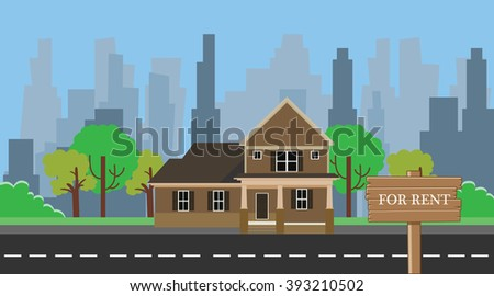 home for rent with wood wooden sign board - stock vector