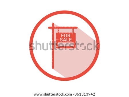 Home For Sale Real Estate Sign  . House Real Estate logo design. long Shadow icon - stock vector
