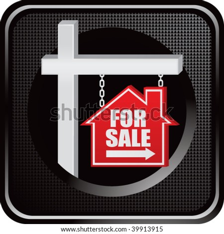 home for sale sign on black web button - stock vector