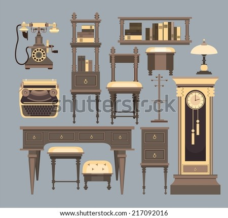 home furnishings of the old cabinet on a blue background in retro style - stock vector