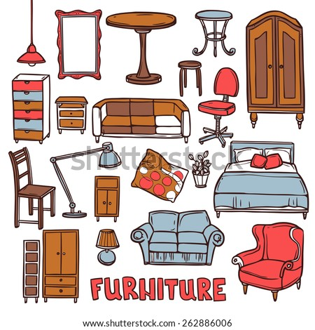 Home furniture decorative icons set with sketch sofa armchair table isolated vector illustration - stock vector