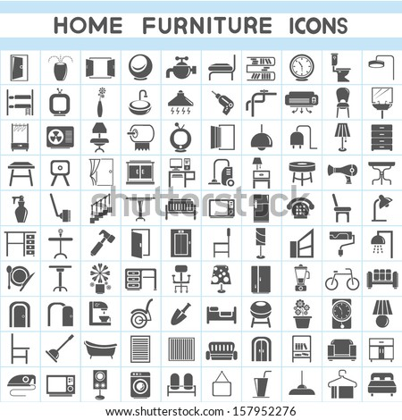 home furniture icons set - stock vector
