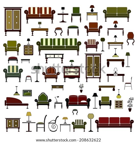 Home furniture icons set, isolated on white background, vector illustration. - stock vector