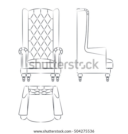 Home furniture set, isolated on white background, vector illustration.
