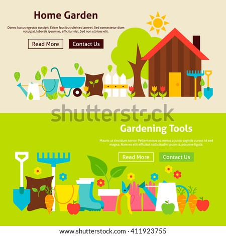 green home tools home gardening tools flat website banners stock vector 411923755