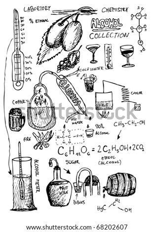 home hand drawn alcohol laboratory - stock vector