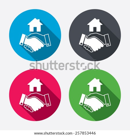 Home handshake sign icon. Successful business with house building symbol. Circle buttons with long shadow. 4 icons set. Vector - stock vector