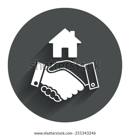Home handshake sign icon. Successful business with house building symbol. Circle flat button with shadow. Modern UI website navigation. Vector - stock vector