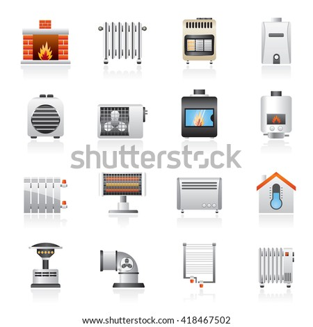 Home Heating appliances icons - vector icon set - stock vector