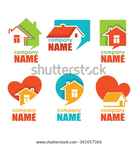 Home house and real estate logo symbol and emblem collection - stock vector