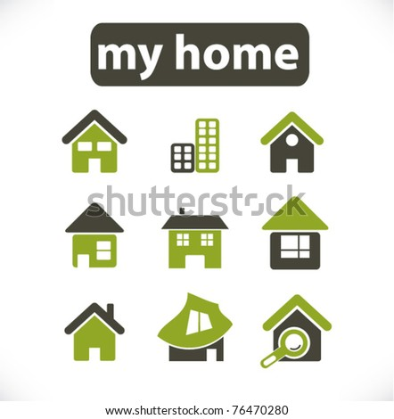 home & house & buildings icons, signs, vector illustrations - stock vector