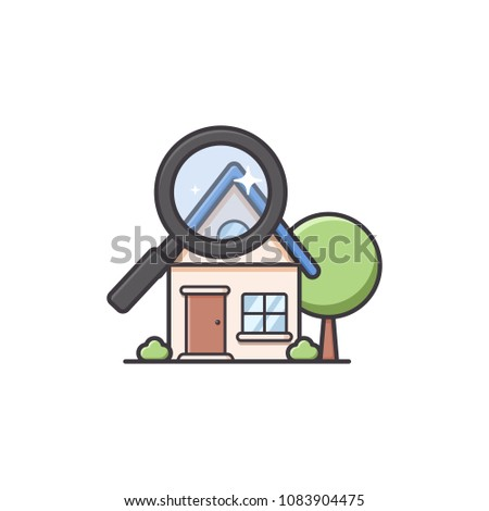 Nice Home House Finder In Soft Rounded Cute Illustration Style