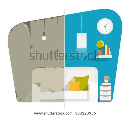 Home house flat apartment room domestic repair. Before and after creative concept. Color vector illustration.