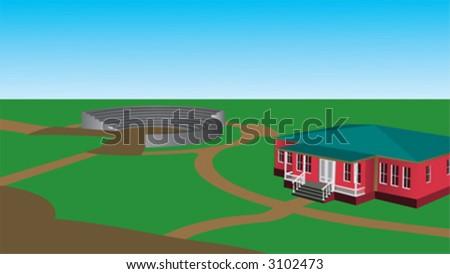 home, house, green - stock vector